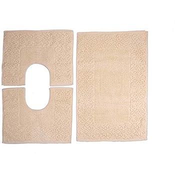 HomeIt - Set Tappeti Bagno 3 Pezzi in Cotone - Elegante Parure tappetini in Spugna: 1 Tappeto 60X90 2 Girowater/Girobidet - Lavabile Lavatrice - Made in Italy (Beige)