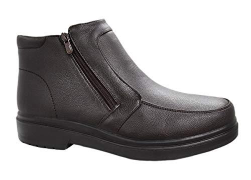 AK collezioni Scarpe stivaletti uomo casual invernali sneakers polacchine con pelliccia interna numero 40 41 42 43 44 45 (42, marrone)