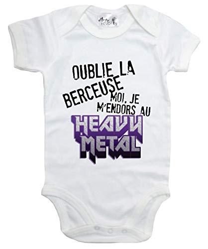 Dirty Fingers Oublie la Berceuse Moi Je m'endors au Heavy Metal Body bébé 12-18m Blanc