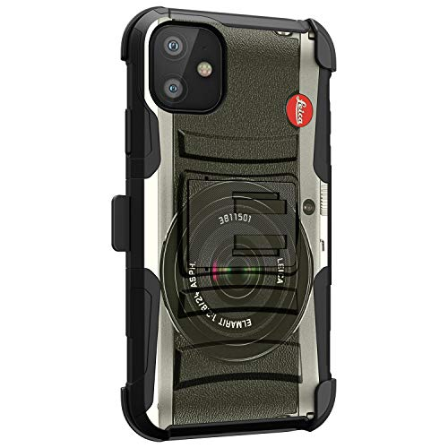 MINITURTLE Compatible with Apple iPhone 11 6.1 Hard Shell Hybrid Dual Layer Holster Belt Clip Case Cover [Clip Armor] - Vintage Camera