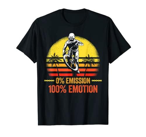 0% Emissione 100% Emozione Bicicletta Biker Mountain Bike Trail Maglietta