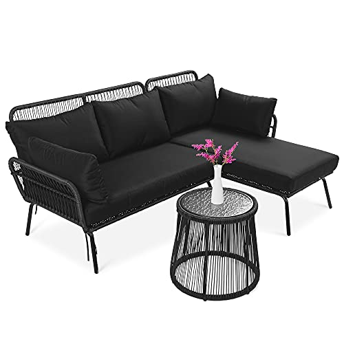 Best Choice Products Outdoor Rope Woven Sectional Patio Furniture L-Shaped Conversation Sofa Set for Backyard, Porch w/Thick Cushions, Detachable Lounger, Side Table - Black