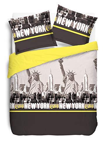 Vision Parure de Housse de Couette New York Jaune - 240x220cm avec 2 taies d'oreiller 65x65cm
