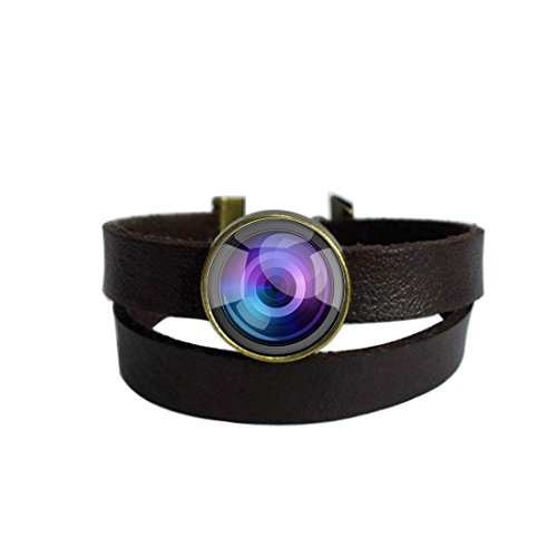 Camera Lens Photo Dark Brown Leather Charm Bracelet Keychain Round Glass Cabochon Dome Pendant Stainless Steel Metal Handmade Wrap Around Wristband Bangle for Women Men Best Friend