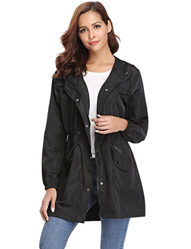 Abollria Womens Outdoor Waterproof Lightweight Windbreaker Raincoat Hooded Rain Jacket Black