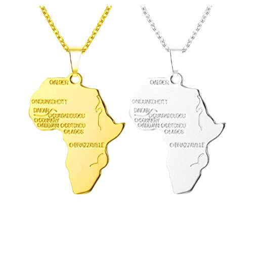 Meetlight Afrika Karte Anhänger Halskette graviert erhältlich Hip Hop afrikanischen Schmuck mit 22 Zoll Kette Gold und Silber Kette Halskette für Frauen und Männer 2St