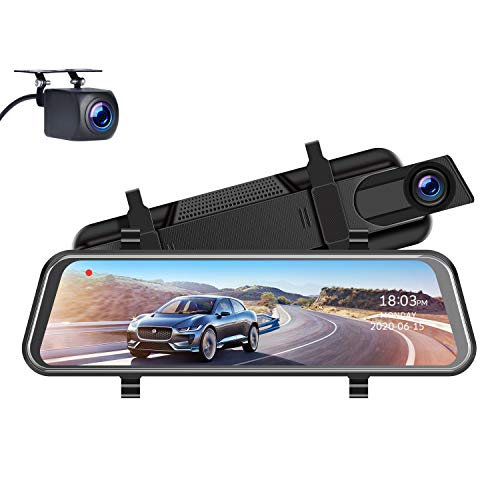 TOGUARD 11' 2.5K Mirror Dash Cam for Cars GPS Voice Control Rear View Camera Touch Screen Front and...