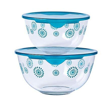 Pyrex Mixing Bowls Set of 2 Flower Design 2ltr/1ltr - Limited Edition
