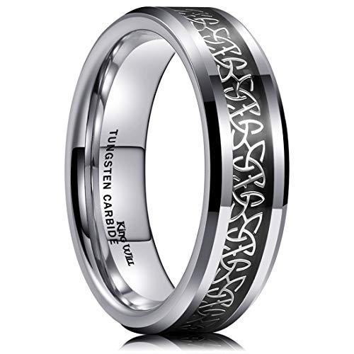 King Will Classic 6mm Tungsten Carbide Ring Wedding Band for Men Inlay Celtic Knot Engagement Ring Comfort Fit 10