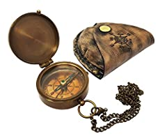 The New Antique Store - Antique Brass Compass Nautical Pocket Backpacking Compass Leather Case Vintage Camping Hiking Direction Marine Graduation Confirmation Day Engravable for Men Quality Travel #1