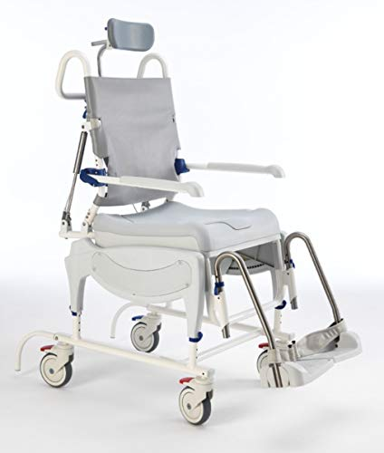 Aquatec Ocean Ergo Dual VIP Rolling Shower and Commode Wheelchair - Includes Reclining Chair, Collection Pan, Lid and Pan Support Guide Rail - OCEANERGODUALVIP
