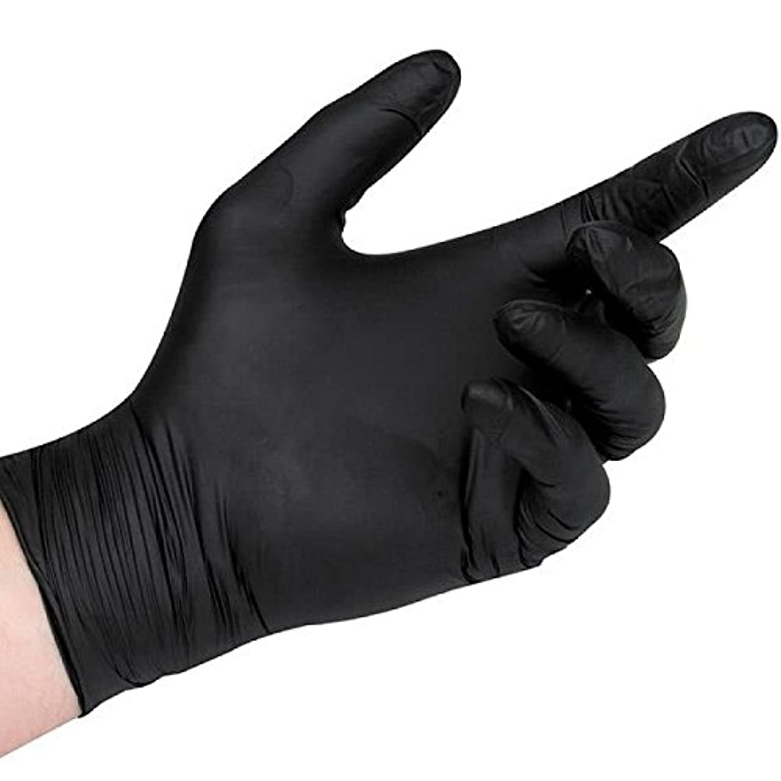 Black Nitrile Disposable Gloves, 5 Mil Thickness, Powder Free, Textured Fingertips, Latex Free, Heavy Duty (100, Medium)