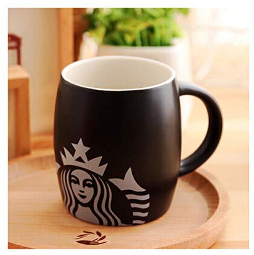 zipkp Starbucks Barrel Big Belly Cup Ceramic gram Office Student Family Cup con Tapa Cuchara Mermaid Mark Valentine Black Single Cup