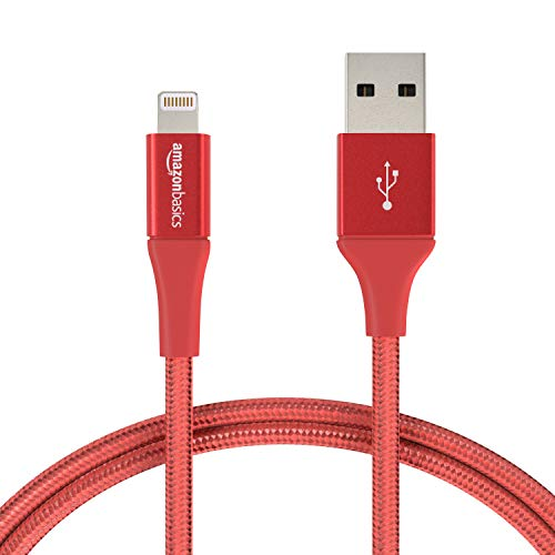 AmazonBasics Double Braided Nylon Lightning to USB Cable, Advanced Collection, MFi Certified iPhone Charger, Red, 3 Foot