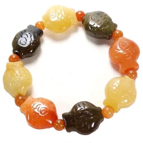 PAYNAN Pulsera ajustable de jade natural con diseño de peces de seda dorada