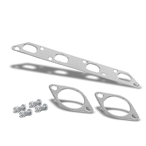 Exhaust Gasket (Aluminum Graphite, Steel Bolts/Studs, Silver) Works With 02-08 Mini Cooper R50/R52/R53 1.6L