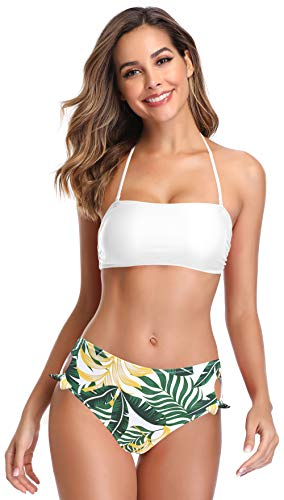 SHEKINI Costume da Bagno Donna Bikini Imbottito Halter Top Bandeau Bikini Regolabile Rimovibile Tracolla Costumi Donna Due Pezzi A Vita Alta Annodata Bikini Fondo (XL, Bianco Y)