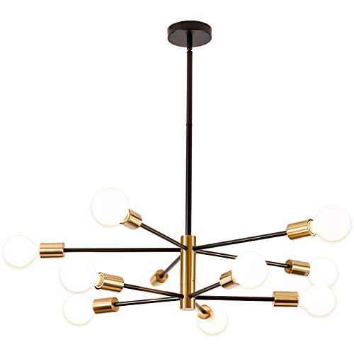 Lámpara de araña Sputnik, SOZOMO estilo nórdico negro y dorado, lámpara de techo LED colgante dorado para salón, dormitorio, cocina (10 luces)