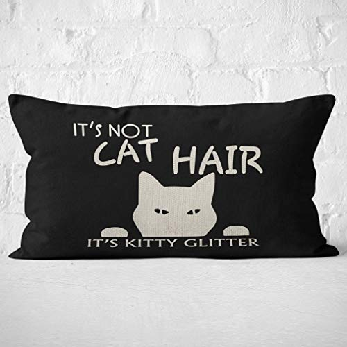 It's Not Cat Hair It's Kitty Glitter Throw Pillow Case, Children Room Decoration, Cat Lover Gifts, Funny Cat Lady Gifts,Cat Mom Gifts,20 x 12 Inch Black Linen Cushion Cover for Sofa Couch Bed