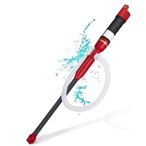 ONCCI Elektrische Benzinpumpe Siphon Pumpe Batteriepumpe Kanisterpumpe Umfüllpumpe von Diesel Öl Wasser Benzin (Schwarz-Rot)