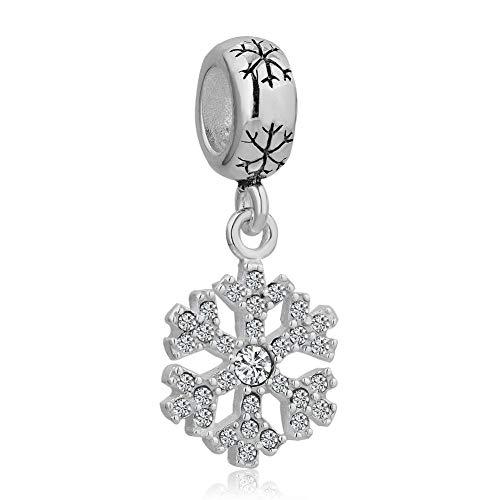 Poetic Charms - Charm in argento Sterling 925 a forma di fiocco di neve, compatibile con bracciali e collane