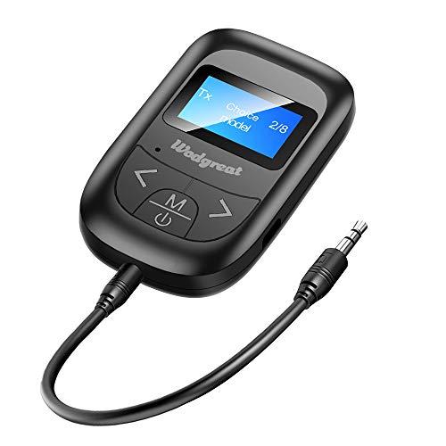 Wodgreat Bluetooth Adapter Audio 5.0 Transmitter Empfänger 2 in 1 Sender Receiver Wireless Adapter mit LCD Visual Display,3,5mm Audio Kabel für Kopfhörer Lautsprecher Radio Auto TV PC Laptop Tablet