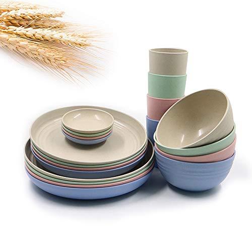 Juego de vajilla grande de cocina de 20 piezas, platos de pasta ancha y poco profunda platos de ensalada cuencos de sopa platos resistentes y duraderos para acampar platos de postre plato de sals