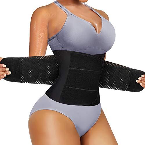 Bafully Bauchweggürtel Sport Fitnessgürtel Schwitzgürtel Fettverbrennung Sauna Taille Trimmer Verstellbarer Taillenformer mit Klettverschluss Neopren Body Shaper (Schwarz, M)
