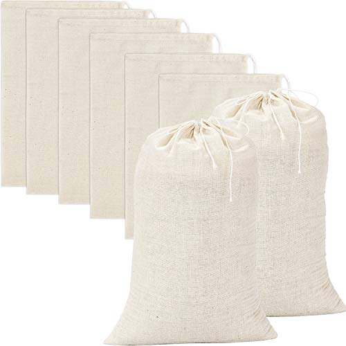 Pangda 20 Pieces Large Muslin Bags Cotton Drawstring Bags, 8 by 12 Inches