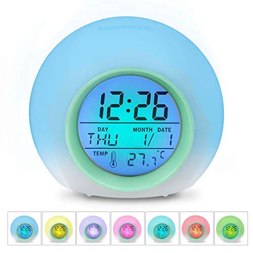 HAMSWAN [Geburtstagsgeschenk für Kinder LED Wecker, JL-C018 7 Farben ändern Wecker, Schlaf-Friendly mit Innentemperaturanzeige für Arbeit Eltern, Studenten etc (Hellgrün)