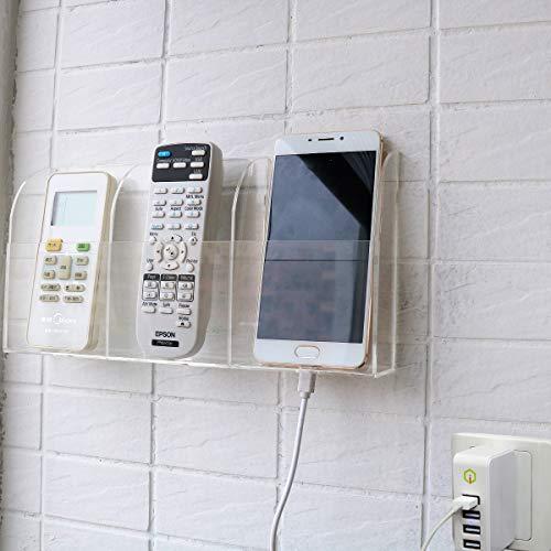 HyFanStr Soporte para mando a distancia de acrílico transparente para teléfono, soporte de pared, organizador de mando a distancia