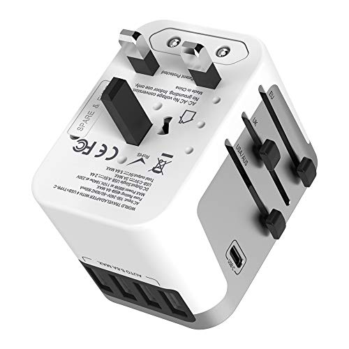 Travel Adapter, Foval Type C International Travel Power Adapter, Universal Travel Adapter Worldwide All in One Wall Charger AC Power Plug Adapter Type