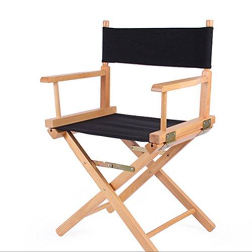 Chaise du directeur Loisirs en plein air Portable chaise pliante en bois massif toile chaise d'ordinateur dossier chaise de maquillage chaise de pêche (Couleur : Noir)