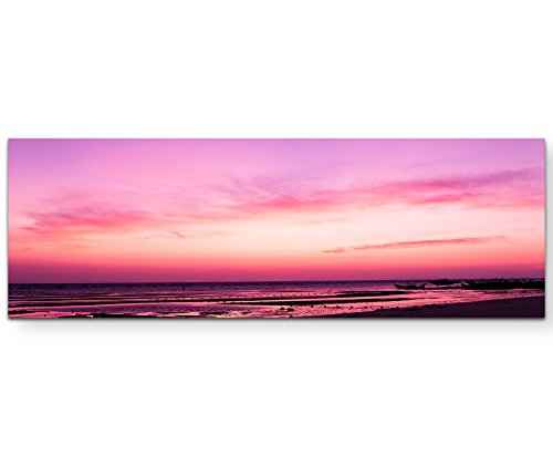 Eau Zone Wandbild auf Leinwand 120x40cm Pinker Sonnenuntergang am Meer