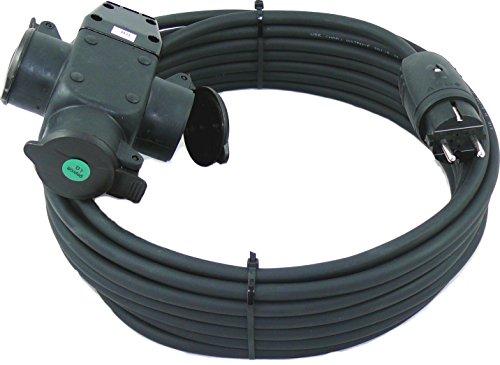 Schuko Gummi-Verlängerungskabel mit 3-fach Verteilersteckdose H07RN-F 3G1,5 mm² IP44 geeignet für Außen 230V / 16A (10m)