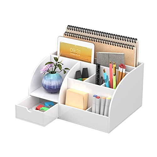 FEMELI Office Desk Organizer and Accessories, Acrylic Desk Organizer with 8 Compartments +1 Drawer(White)