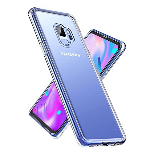 Whew Crystal Clear Samsung Galaxy S9 Hülle, Ultra Transparent Vergilbungsfrei Hard PC Back & Soft Silikon Hülle Samsung Galaxy S9 Handyhülle Durchsichtig Kratzfest Dünn Stoßfestigkeit Schutzhülle