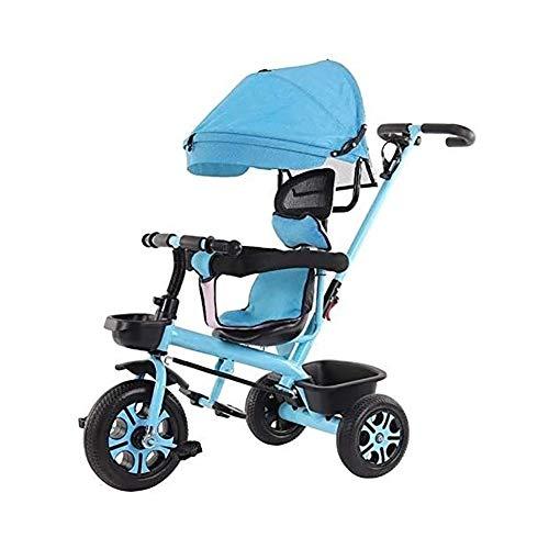 TQJ Cochecito de Bebe Ligero Triciclo Niños con Desmontable Manija De Empuje De 3 Ruedas Niños Pequeños A Niños Paseo En El Pedal De La Bici De Trike 12 Meses A 6 Años (Azul)