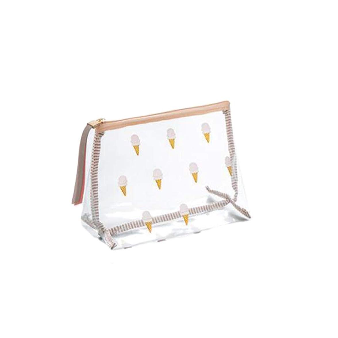 通行人配管何故なのFrcolor 化粧ポーチ トラベルポーチ メイクポーチ アイスクリーム柄 かわいい 化粧小物収納ポーチ コンパクト 旅行用 透明(サイズS)