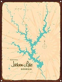 Jackson Lake Georgia Map Rustic Metal Art Print by Lakebound 9  x 12