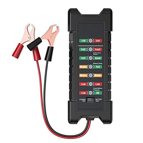 Yctze Comprobador de batería, comprobador de batería multifuncional de 12/24 V con 6 luces LED Comprobador de alternador para herramienta de prueba de diagnóstico de generador de motocicleta