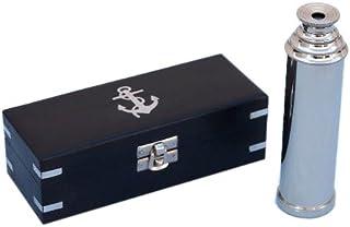 "Hampton Nautical  Captain's Chrome Spyglass Telescope with Black Rosewood Box, 14"", Chrome"