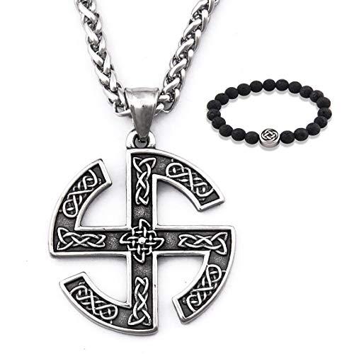 Gungneer Men Stainless Steel Celtic Knot Shield Pendant Irish Eternal Necklace Love Infinity Strength Jewelry Amulet