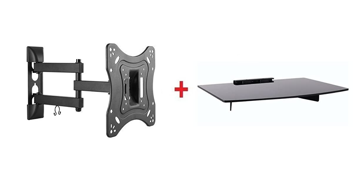 Mount Plus 1095-31 Tilt Swivel Corner Wall Mount with Bundle Single Glass shelf of Cable Box DVD Player Stereo Components for Most 23