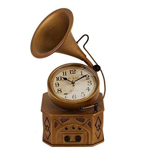 Huistijd Metalen Mantel Klok - Vintage Stijl Gramophone W2822