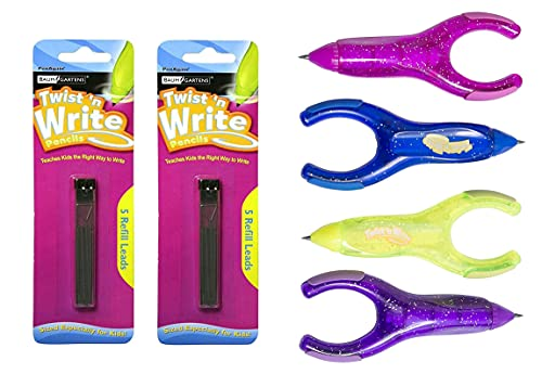 PenAgain Twist 'n Write Pencil Assorted Colors 4 Count (00071) Bundle with 10 Count Refills