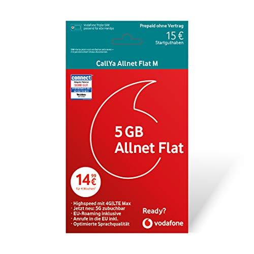 Vodafone CallYa Allnet Flat M + 15 Euro Startguthaben Prepaid Sim Karte ohne Vertrag im D2-Netz