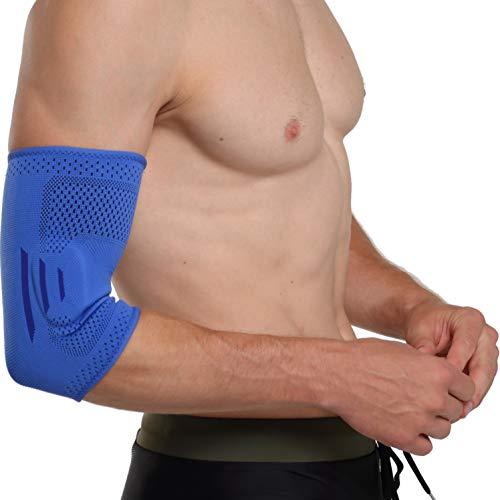 oxoxo Ellbogen-Bandage mit ergonomischer Passform durch 3D-Stricktechnik | Schutz & Stabilisierung des Ellenbogen-Gelenks durch beidseitige Silikon-Pads [S]