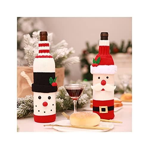 GDYJP 2 unids Navidad Papá Noel Punto Tinto Cubierta de Botella de Vino Rojo for Bar Navidad Muñeco de Nieve Botella Bolsa Decoración Decoración de la Mesa (Color : A, Tamaño : One Size)