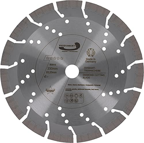 PRODIAMANT Disco de corte de diamante profesional hormigón granito oxx 230 mm 22,2 mm, gris, PDX82.118 230mm
